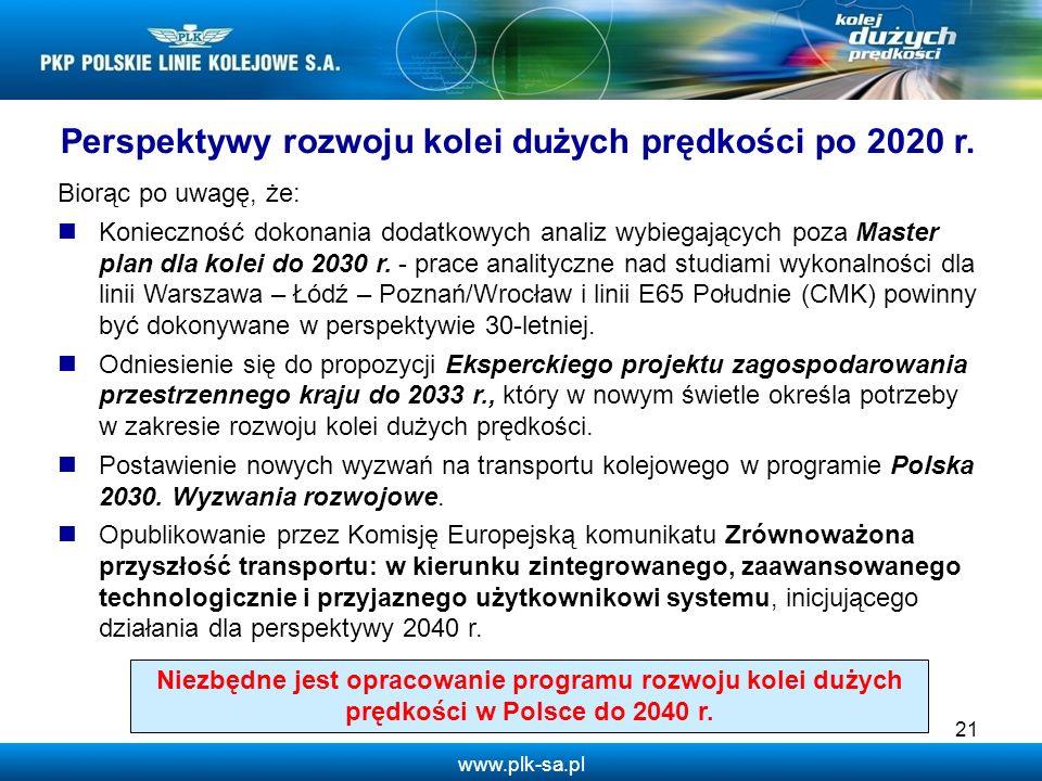 www.plk-sa.pl 21 Perspektywy rozwoju kolei dużych prędkości po 2020 r. Biorąc po uwagę, że: Konieczność dokonania dodatkowych analiz wybiegających poz