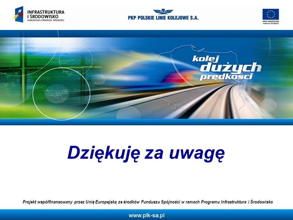 www.plk-sa.pl Dziękuję za uwagę Projekt współfinansowany przez Unię Europejską ze środków Funduszu Spójności w ramach Programu Infrastruktura i Środow