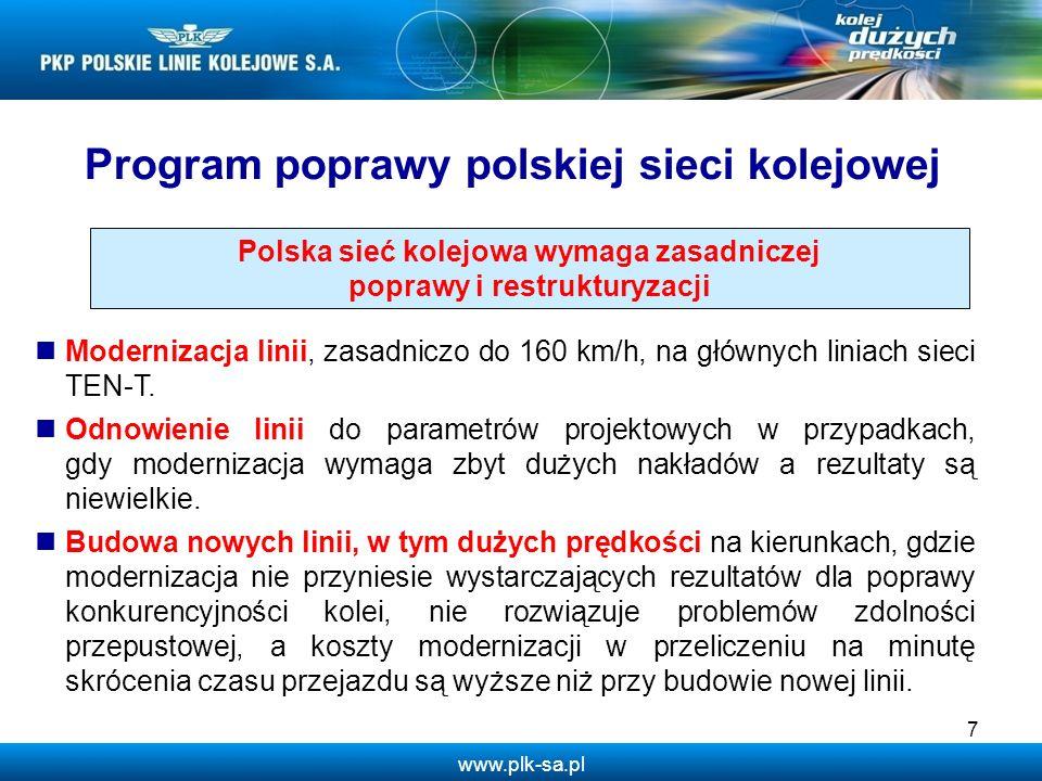 www.plk-sa.pl 8 Czynniki przemawiające za budową kolei dużych prędkości w Polsce 1.Polska jest zbyt dużym krajem, aby zapewnić dla niej sprawną komunikację między głównymi ośrodkami gospodarczymi i administracyjnymi tylko w oparciu o zmodernizowane linie kolejowe do 160 km/h oraz sieć autostrad.