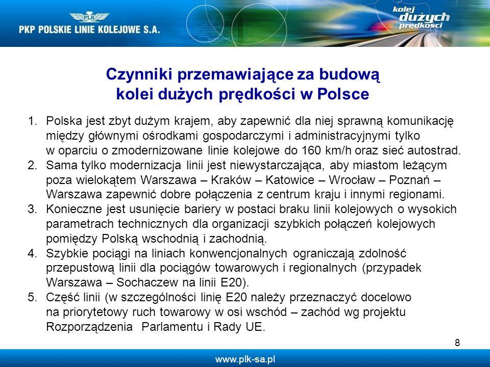 www.plk-sa.pl 8 Czynniki przemawiające za budową kolei dużych prędkości w Polsce 1.Polska jest zbyt dużym krajem, aby zapewnić dla niej sprawną komuni