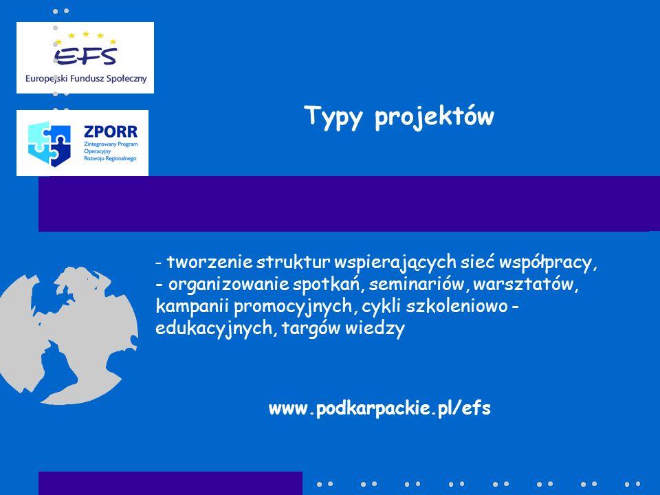 Typy projektów - tworzenie struktur wspierających sieć współpracy, - organizowanie spotkań, seminariów, warsztatów, kampanii promocyjnych, cykli szkoleniowo - edukacyjnych, targów wiedzy www.podkarpackie.pl/efs