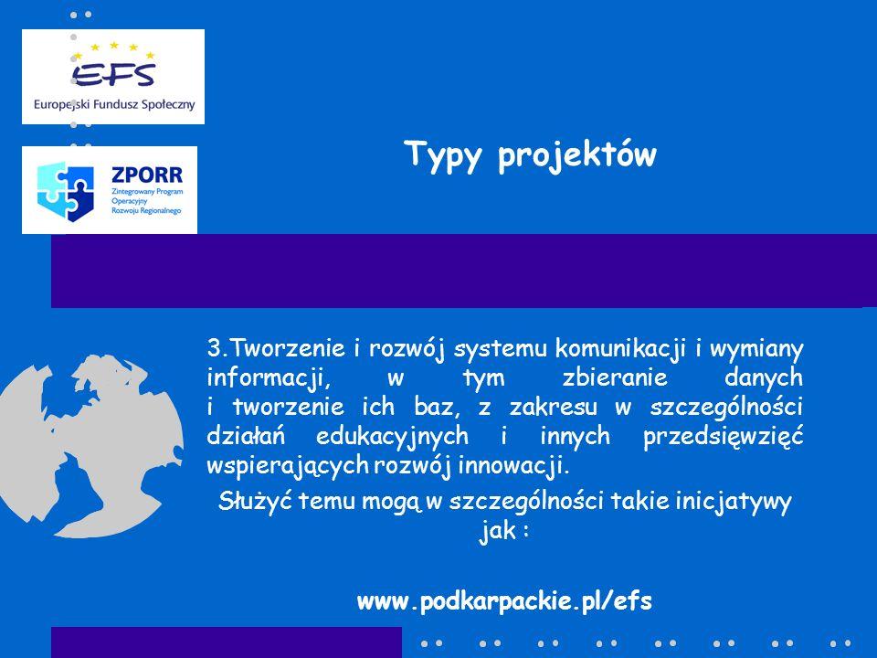 Typy projektów 3.Tworzenie i rozwój systemu komunikacji i wymiany informacji, w tym zbieranie danych i tworzenie ich baz, z zakresu w szczególności dz