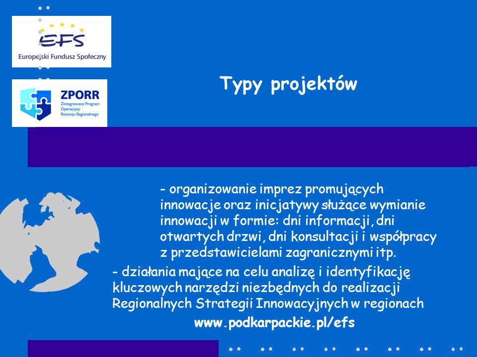 Typy projektów - organizowanie imprez promujących innowacje oraz inicjatywy służące wymianie innowacji w formie: dni informacji, dni otwartych drzwi, dni konsultacji i współpracy z przedstawicielami zagranicznymi itp.