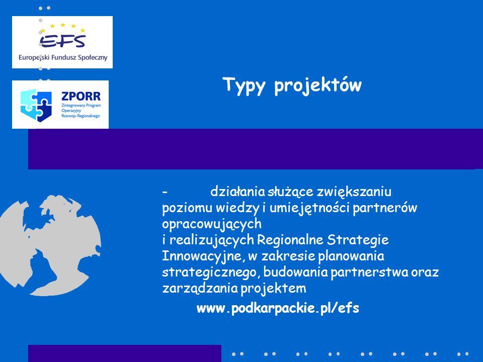 Typy projektów -działania służące zwiększaniu poziomu wiedzy i umiejętności partnerów opracowujących i realizujących Regionalne Strategie Innowacyjne, w zakresie planowania strategicznego, budowania partnerstwa oraz zarządzania projektem www.podkarpackie.pl/efs