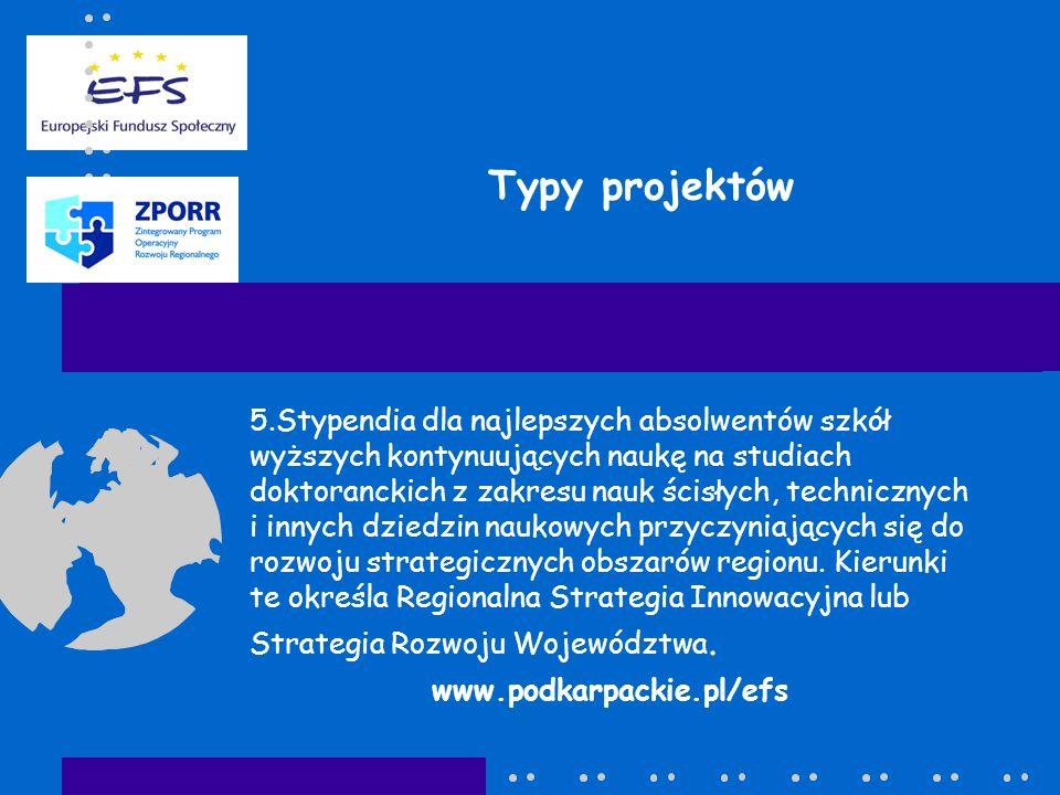 Typy projektów 5.Stypendia dla najlepszych absolwentów szkół wyższych kontynuujących naukę na studiach doktoranckich z zakresu nauk ścisłych, technicznych i innych dziedzin naukowych przyczyniających się do rozwoju strategicznych obszarów regionu.