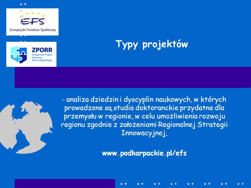 Typy projektów - analiza dziedzin i dyscyplin naukowych, w których prowadzone są studia doktoranckie przydatne dla przemysłu w regionie, w celu umożli