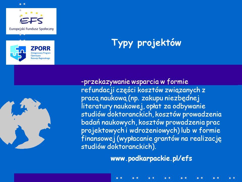 Typy projektów - przekazywanie wsparcia w formie refundacji części kosztów związanych z pracą naukową (np. zakupu niezbędnej literatury naukowej, opła