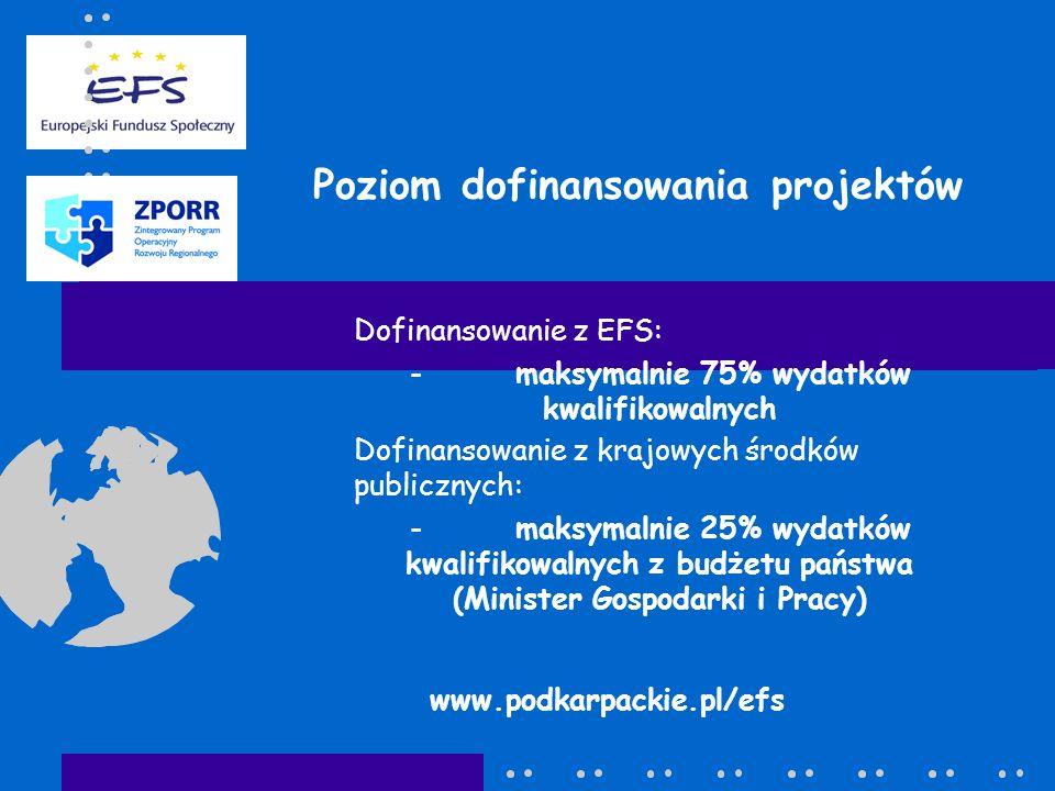 Poziom dofinansowania projektów Dofinansowanie z EFS: -maksymalnie 75% wydatków kwalifikowalnych Dofinansowanie z krajowych środków publicznych: -maks