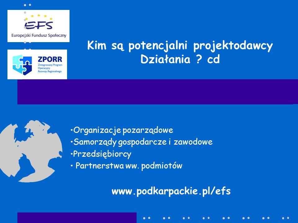 Kim są potencjalni projektodawcy Działania ? cd Organizacje pozarządowe Samorządy gospodarcze i zawodowe Przedsiębiorcy Partnerstwa ww. podmiotów www.