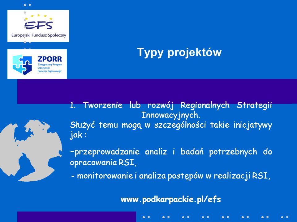 Typy projektów 1. Tworzenie lub rozwój Regionalnych Strategii Innowacyjnych.