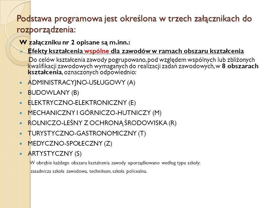 Podstawa programowa jest określona w trzech załącznikach do rozporządzenia: W załączniku nr 2 opisane są m.inn.: Efekty kształcenia wspólne dla zawodó