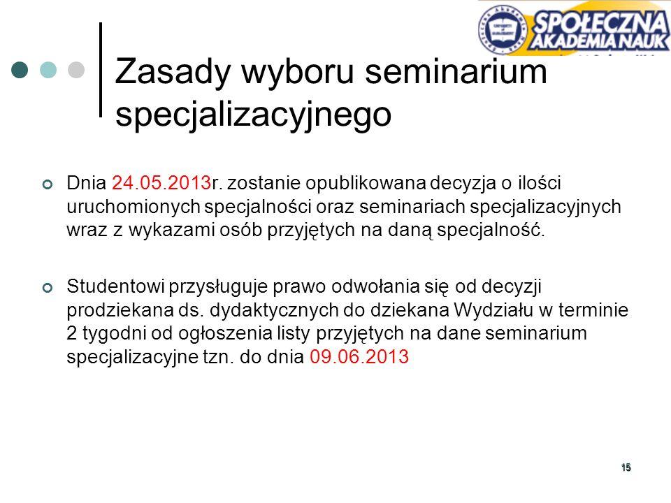 1515 Zasady wyboru seminarium specjalizacyjnego Dnia 24.05.2013r. zostanie opublikowana decyzja o ilości uruchomionych specjalności oraz seminariach s