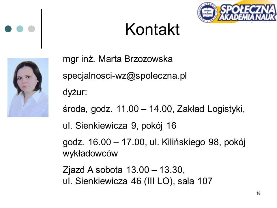 16 Kontakt mgr inż. Marta Brzozowska specjalnosci-wz@spoleczna.pl dyżur: środa, godz. 11.00 – 14.00, Zakład Logistyki, ul. Sienkiewicza 9, pokój 16 go