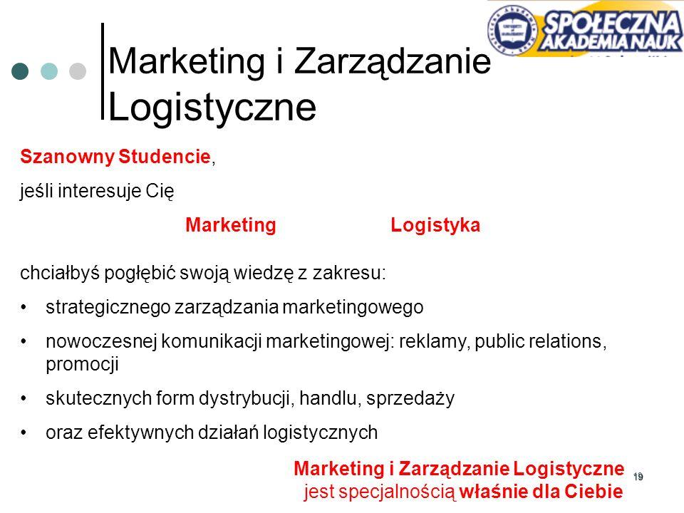 19 Marketing i Zarządzanie Logistyczne Szanowny Studencie, jeśli interesuje Cię Marketing Logistyka chciałbyś pogłębić swoją wiedzę z zakresu: strateg