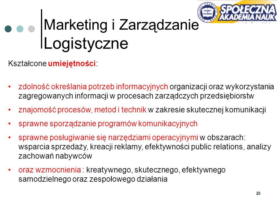 20 Marketing i Zarządzanie Logistyczne Kształcone umiejętności: zdolność określania potrzeb informacyjnych organizacji oraz wykorzystania zagregowanyc