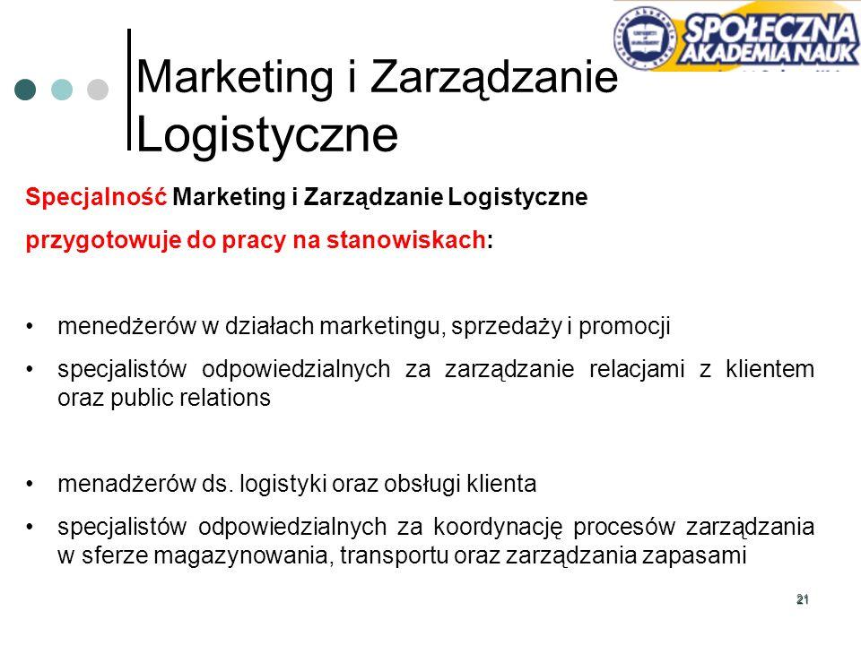 21 Marketing i Zarządzanie Logistyczne Specjalność Marketing i Zarządzanie Logistyczne przygotowuje do pracy na stanowiskach: menedżerów w działach ma