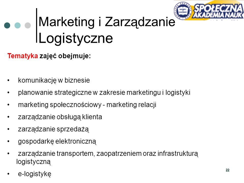 22 Marketing i Zarządzanie Logistyczne Tematyka zajęć obejmuje: komunikację w biznesie planowanie strategiczne w zakresie marketingu i logistyki marke