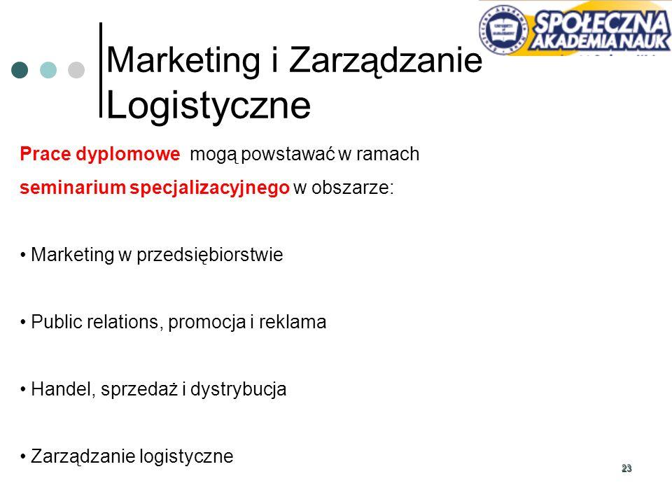 23 Marketing i Zarządzanie Logistyczne Prace dyplomowe mogą powstawać w ramach seminarium specjalizacyjnego w obszarze: Marketing w przedsiębiorstwie