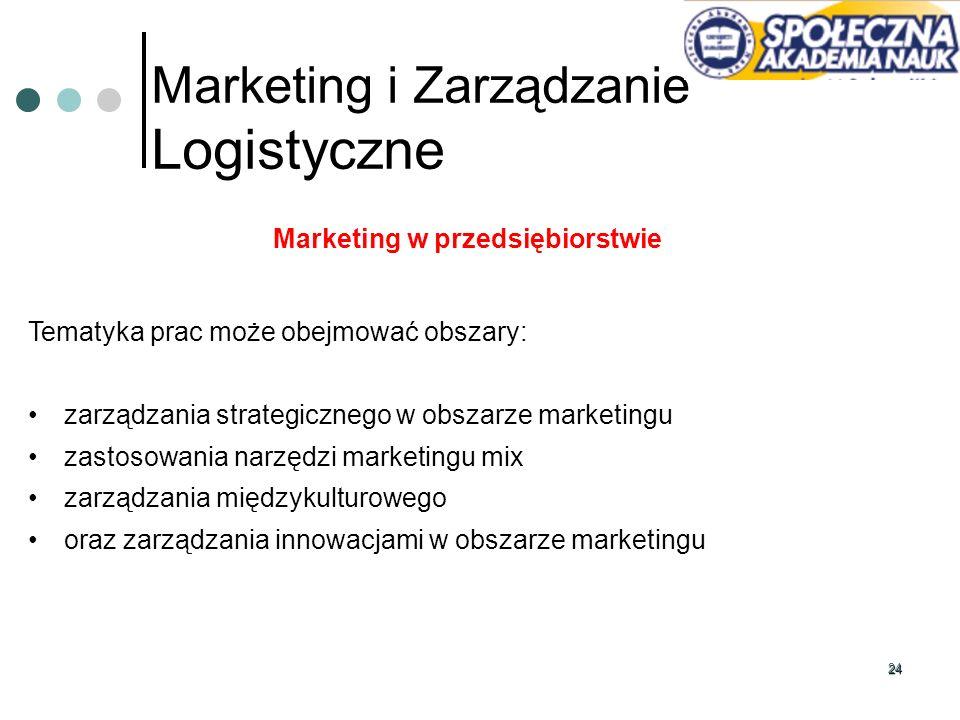 24 Marketing i Zarządzanie Logistyczne Marketing w przedsiębiorstwie Tematyka prac może obejmować obszary: zarządzania strategicznego w obszarze marke