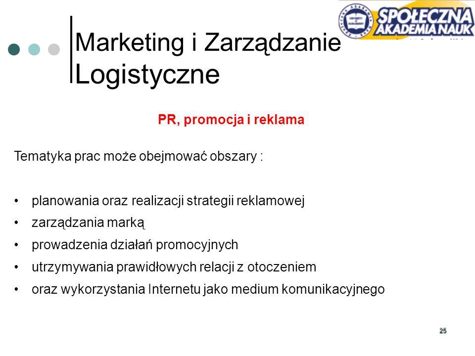 25 Marketing i Zarządzanie Logistyczne PR, promocja i reklama Tematyka prac może obejmować obszary : planowania oraz realizacji strategii reklamowej z