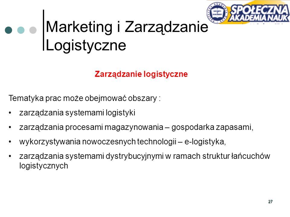 27 Marketing i Zarządzanie Logistyczne Zarządzanie logistyczne Tematyka prac może obejmować obszary : zarządzania systemami logistyki zarządzania proc