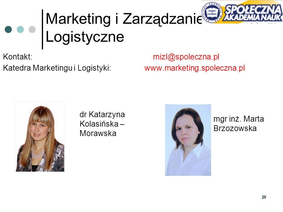 29 Marketing i Zarządzanie Logistyczne Kontakt: mizl@spoleczna.pl Katedra Marketingu i Logistyki: www.marketing.spoleczna.pl dr Katarzyna Kolasińska –