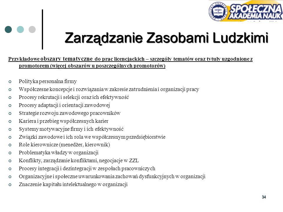 34 Przykładowe obszary tematyczne do prac licencjackich – szczegóły tematów oraz tytuły uzgodnione z promotorem (więcej obszarów u poszczególnych prom