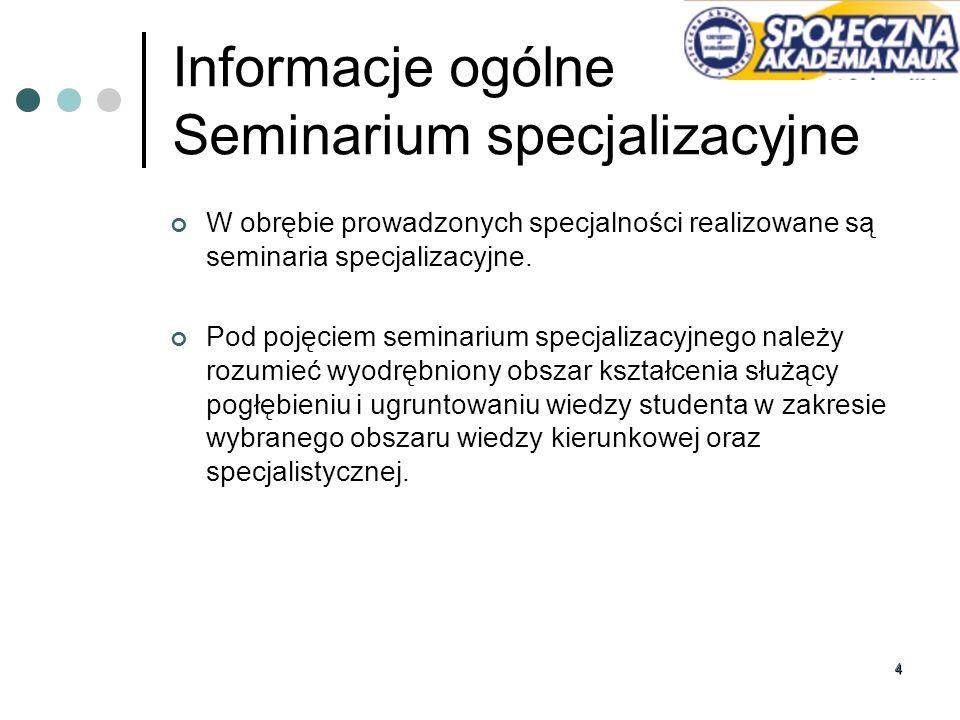 44 Informacje ogólne Seminarium specjalizacyjne W obrębie prowadzonych specjalności realizowane są seminaria specjalizacyjne. Pod pojęciem seminarium