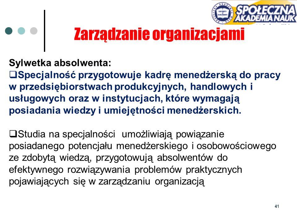 41 Zarządzanie organizacjami Sylwetka absolwenta: Specjalność przygotowuje kadrę menedżerską do pracy w przedsiębiorstwach produkcyjnych, handlowych i