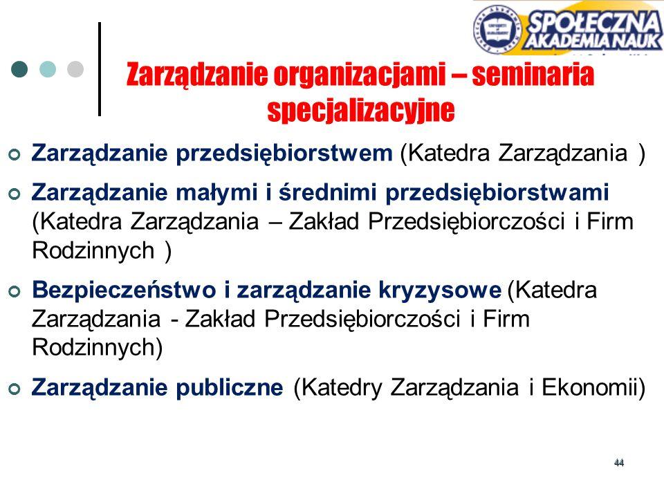 44 Zarządzanie organizacjami – seminaria specjalizacyjne Zarządzanie przedsiębiorstwem (Katedra Zarządzania ) Zarządzanie małymi i średnimi przedsiębi