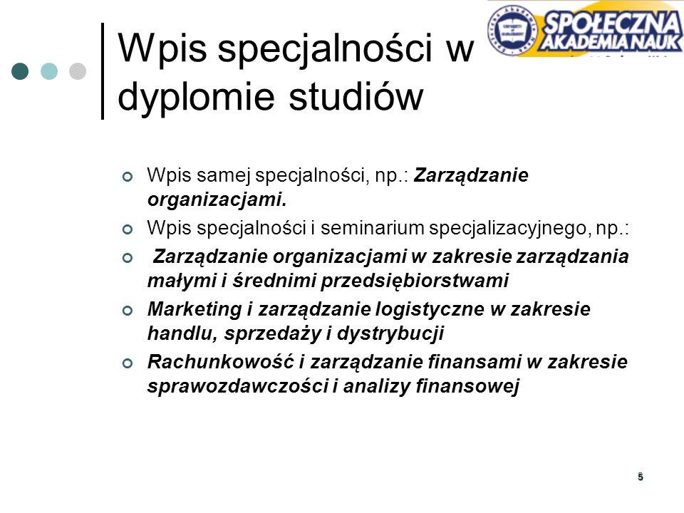 16 Kontakt mgr inż.Marta Brzozowska specjalnosci-wz@spoleczna.pl dyżur: środa, godz.