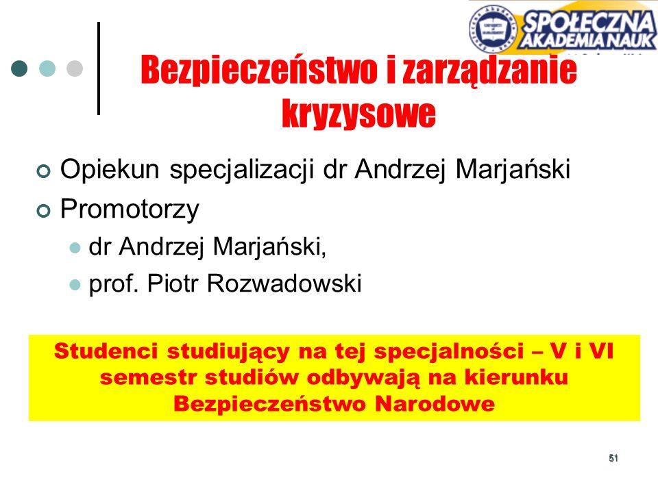 51 Bezpieczeństwo i zarządzanie kryzysowe Opiekun specjalizacji dr Andrzej Marjański Promotorzy dr Andrzej Marjański, prof. Piotr Rozwadowski Studenci
