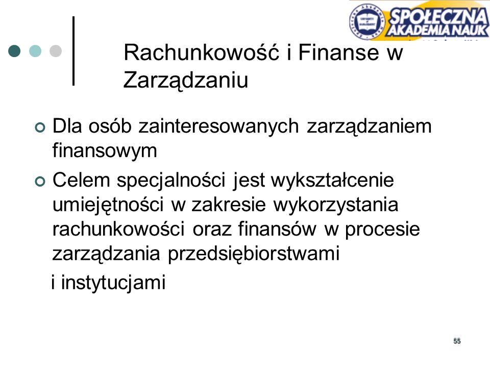 55 Rachunkowość i Finanse w Zarządzaniu Dla osób zainteresowanych zarządzaniem finansowym Celem specjalności jest wykształcenie umiejętności w zakresi