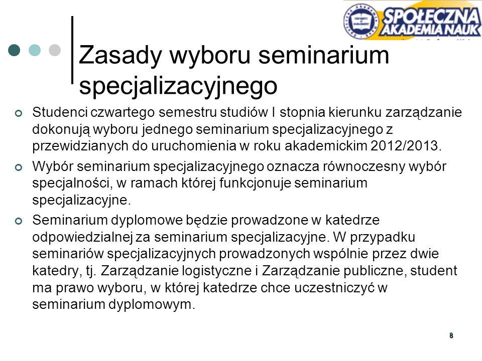 99 Wyboru specjalności dokonuje się przez elektroniczne wypełnienie pól wyboru na stronie http://www.spoleczna.pl/ w zakładce Strefa Studenta w odnośniku Dziekanaty, wybór specjalności W formularzu elektronicznego wyboru student zaznacza 3 preferowane seminaria specjalizacyjne zaznaczając sekwencję wyboru od 1 do 3, gdzie: w polu 1 wybiera numer seminarium specjalizacyjnego preferowanego jako pierwsze w kolejności