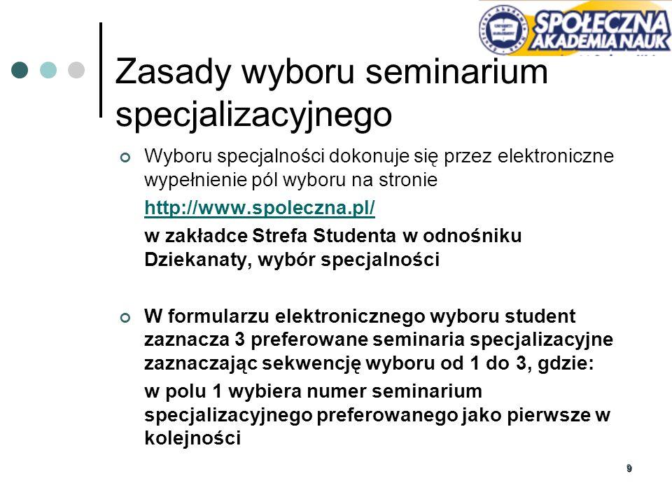 99 Wyboru specjalności dokonuje się przez elektroniczne wypełnienie pól wyboru na stronie http://www.spoleczna.pl/ w zakładce Strefa Studenta w odnośn