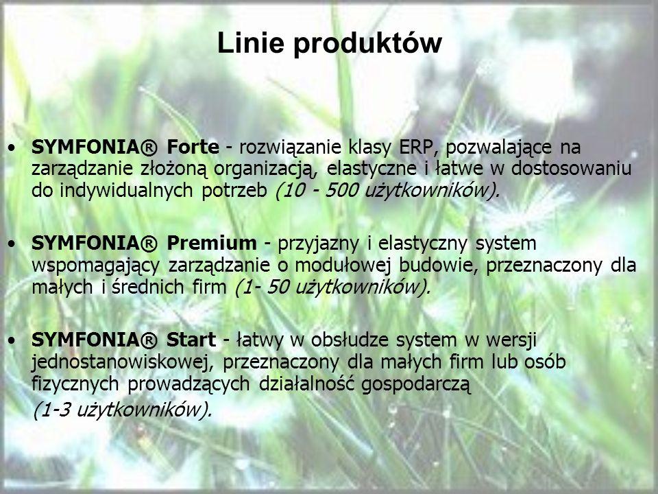 Linie produktów SYMFONIA® Forte - rozwiązanie klasy ERP, pozwalające na zarządzanie złożoną organizacją, elastyczne i łatwe w dostosowaniu do indywidu