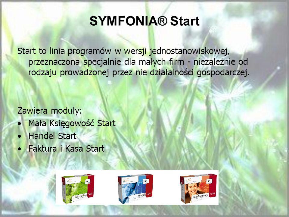 SYMFONIA® Start Start to linia programów w wersji jednostanowiskowej, przeznaczona specjalnie dla małych firm - niezależnie od rodzaju prowadzonej prz