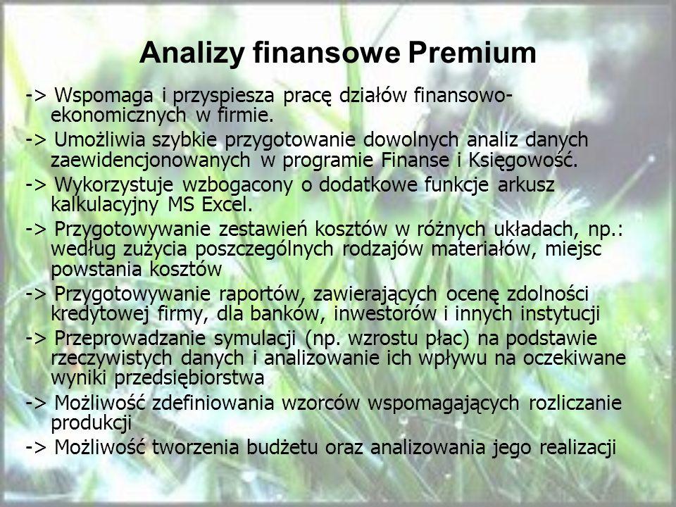 Analizy finansowe Premium -> Wspomaga i przyspiesza pracę działów finansowo- ekonomicznych w firmie. -> Umożliwia szybkie przygotowanie dowolnych anal