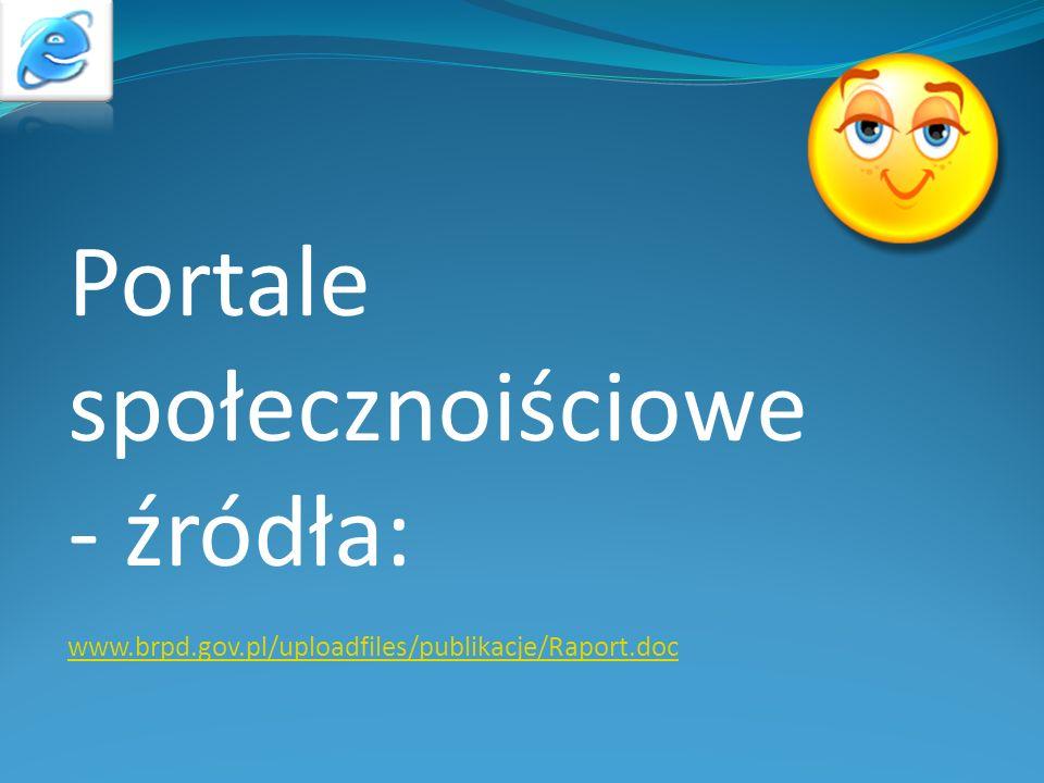 Portale społecznoiściowe - źródła: www.brpd.gov.pl/uploadfiles/publikacje/Raport.doc