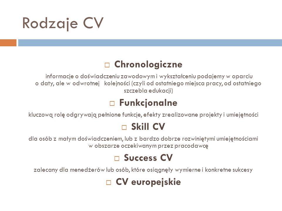 Rodzaje CV Chronologiczne informacje o doświadczeniu zawodowym i wykształceniu podajemy w oparciu o daty, ale w odwrotnej kolejności (czyli od ostatni