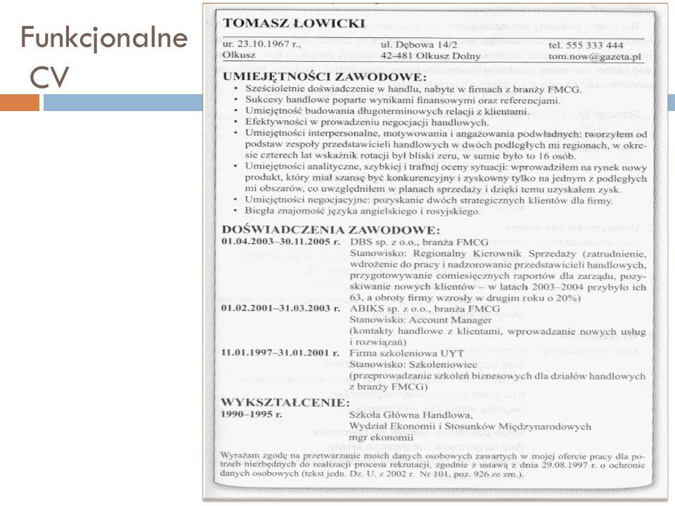 Funkcjonalne CV