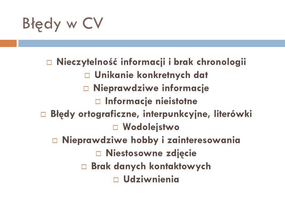 Błędy w CV Nieczytelność informacji i brak chronologii Unikanie konkretnych dat Nieprawdziwe informacje Informacje nieistotne Błędy ortograficzne, int