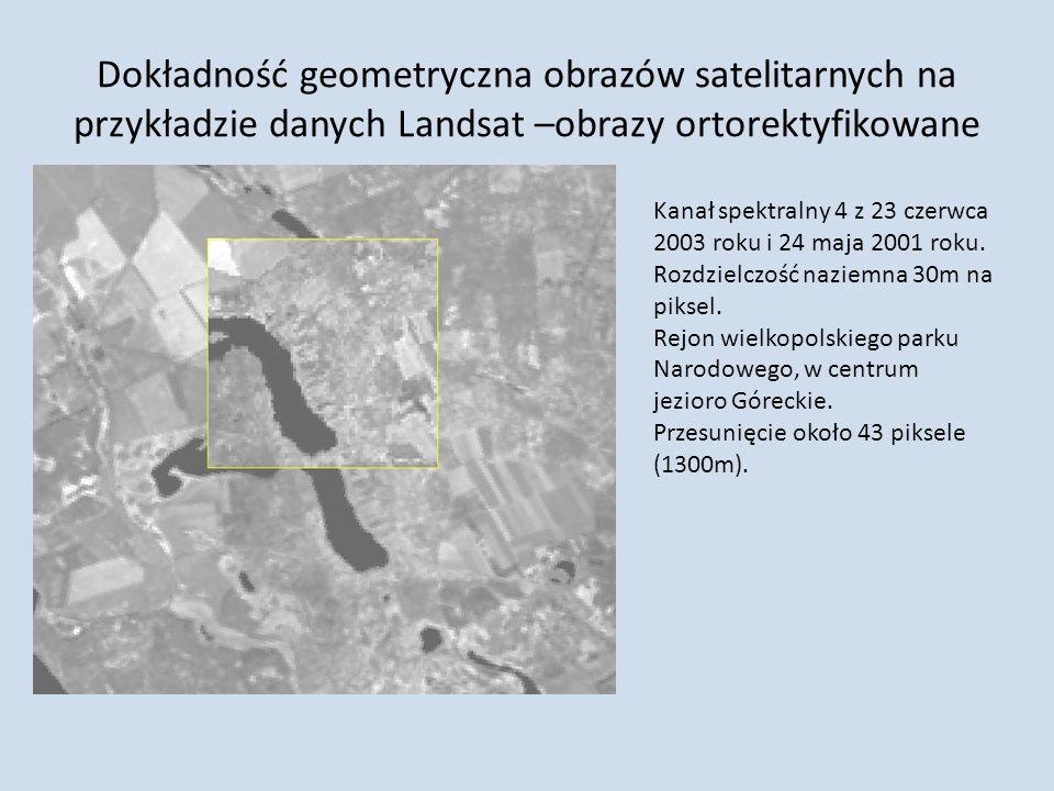 Dokładność geometryczna obrazów satelitarnych na przykładzie danych Landsat –obrazy ortorektyfikowane Kanał spektralny 4 z 23 czerwca 2003 roku i 24 m