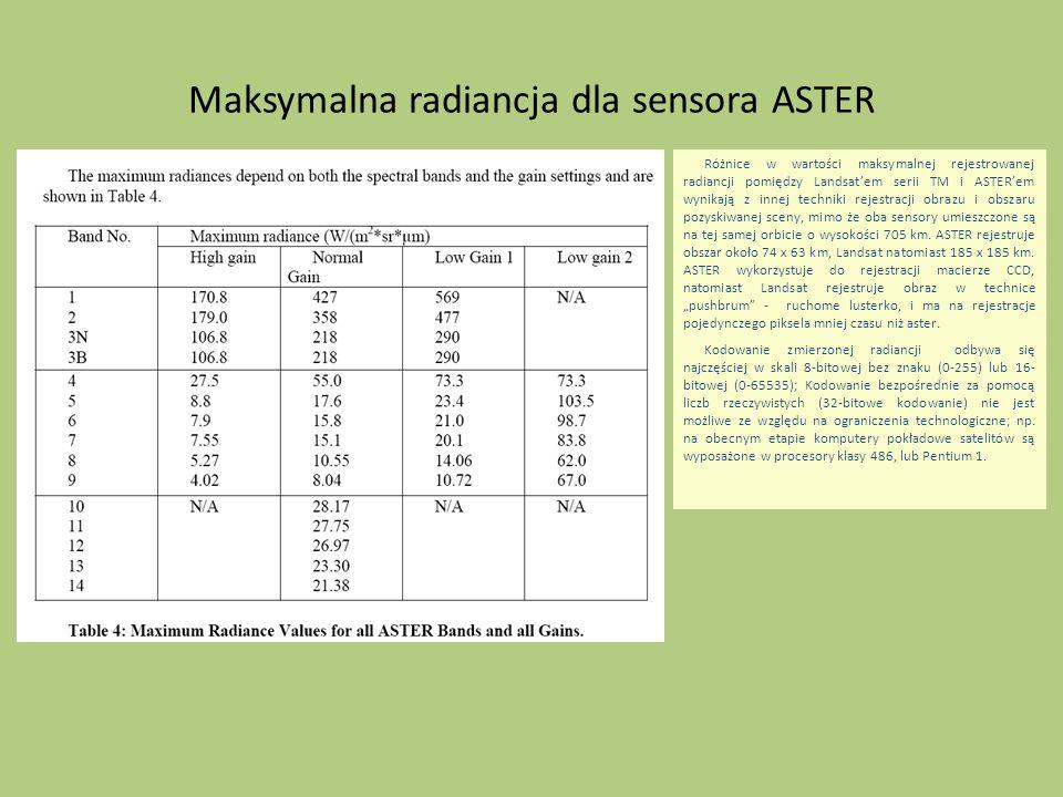 Maksymalna radiancja dla sensora ASTER Różnice w wartości maksymalnej rejestrowanej radiancji pomiędzy Landsatem serii TM i ASTERem wynikają z innej t