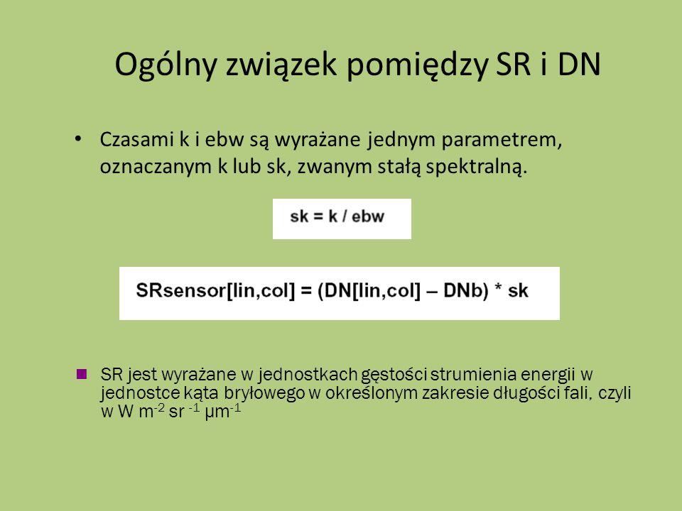 Ogólny związek pomiędzy SR i DN Czasami k i ebw są wyrażane jednym parametrem, oznaczanym k lub sk, zwanym stałą spektralną. SR jest wyrażane w jednos