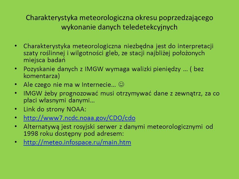 Charakterystyka meteorologiczna okresu poprzedzającego wykonanie danych teledetekcyjnych Charakterystyka meteorologiczna niezbędna jest do interpretac