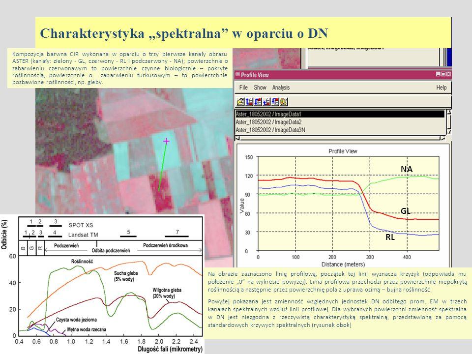 NA GL RL Charakterystyka spektralna w oparciu o DN Kompozycja barwna CIR wykonana w oparciu o trzy pierwsze kanały obrazu ASTER (kanały: zielony - GL,