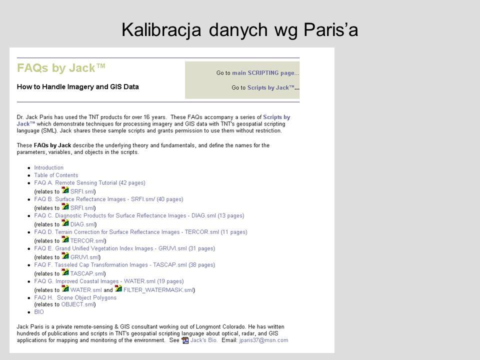 Kalibracja danych wg Parisa