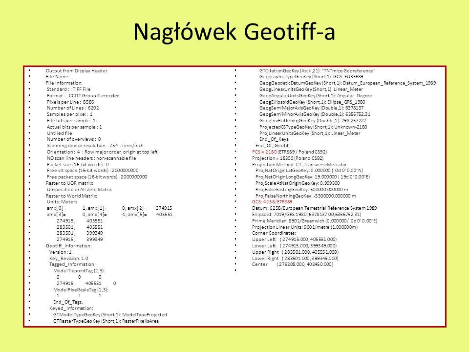 Nagłówek Geotiff-a Output from Display Header File Name: File Information: Standard : : TIFF File Format : : CCITT Group 4 encoded Pixels per Line : 8