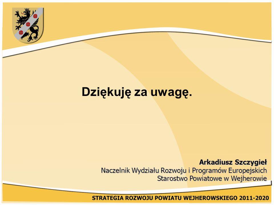 Dziękuję za uwagę. Arkadiusz Szczygieł Naczelnik Wydziału Rozwoju i Programów Europejskich Starostwo Powiatowe w Wejherowie
